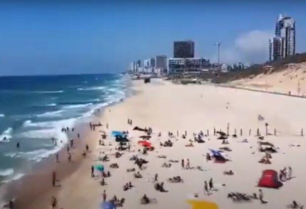 Пляж в Израиле, скриншот видео