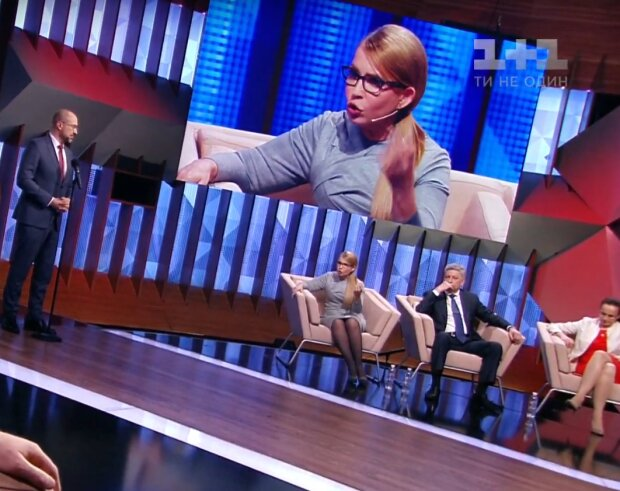 """Денис Шмигаль і Юлія Тимошенко в ефірі програми """"Право на владу"""", скрін"""