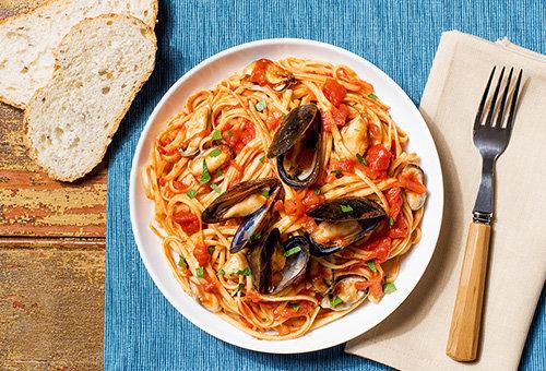 Отличный рецепт острых спагетти с мидиями