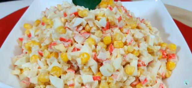 Крабовий салат, фото: скріншот з відео