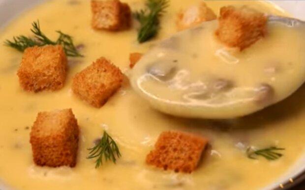 Суп з вершкового сиру з грибами, скріншот: YouTube