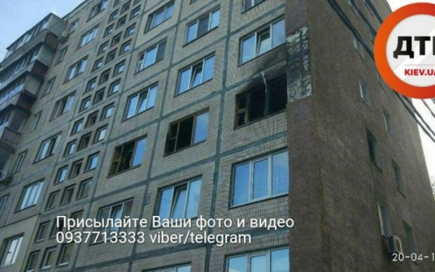 В Киеве полыхала многоэтажка