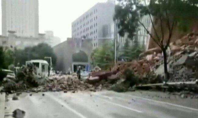 Обрушение стены в Китае, скриншот