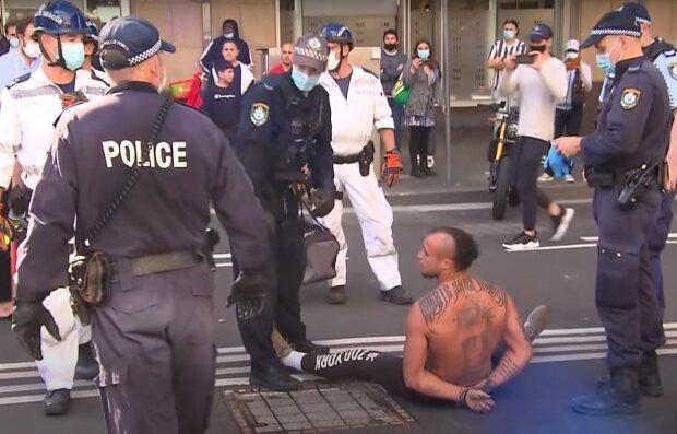 протест в Австралии, скриншот из видео