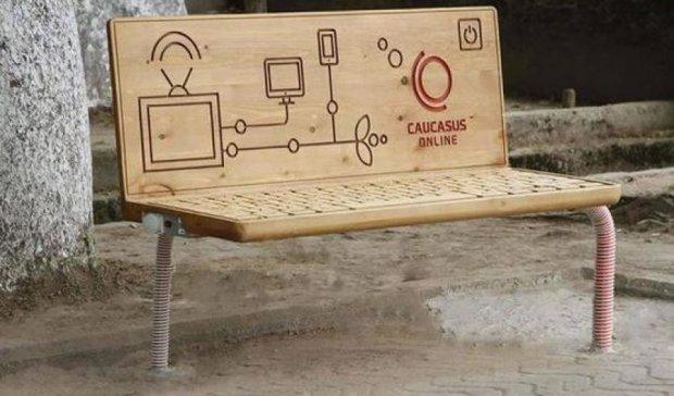 В Грузии установили скамейки с wi-fi