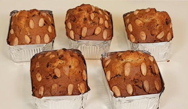 Кекс с орехами и изюмом, фото: кадр из видео