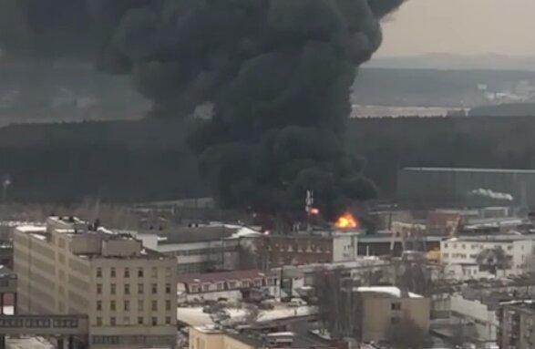 Пожар в Екатеринбурге, скриншот из видео: Mash