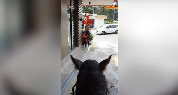 Відчув себе ковбоєм: чоловік вирішив забрати фастфуд з ресторану верхи на коні