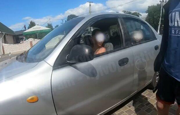Под Киевом заметили 12-летнего водителя, скриншот с видео