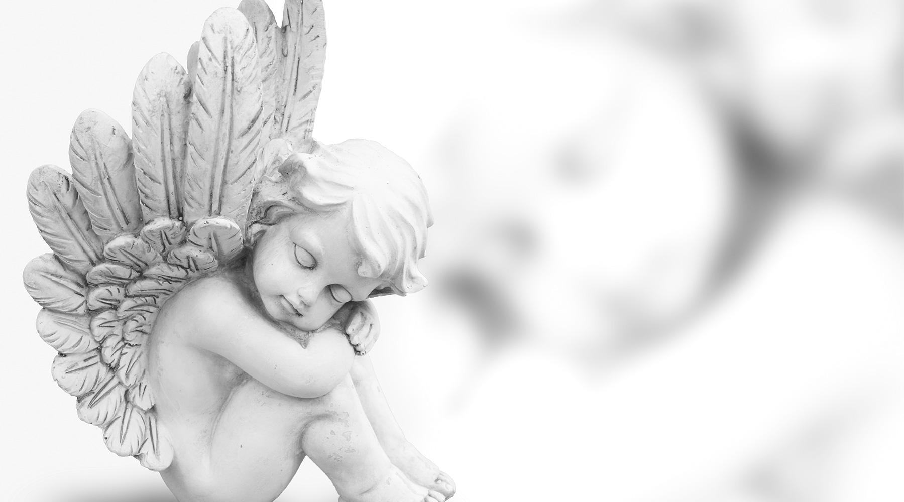 Позитивные, черно белые открытки с ангелом